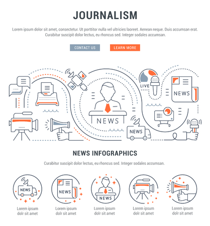 Flat line illustration of journalism. Concept for web banners and printed materials. Template with buttons for website banner and landing page Çizim