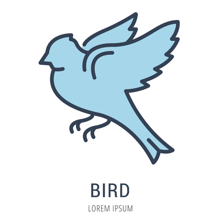 tweet icon: Logo or label bird. Line style logotype. Easy to use bird template. Vector abstract sign or emblem.