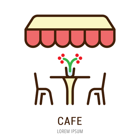 Logo or label cafe. Line style logotype. Easy to use cafe template. Vector abstract sign or emblem.