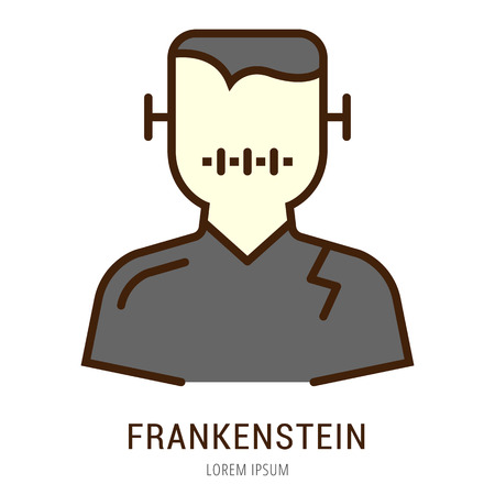 A Logo or label frankenstein. Line style logotype. Easy to use frankenstein template. Vector abstract sign or emblem.