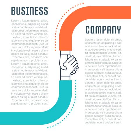 事業会社の平らな線のイラスト。ウェブのバナーや印刷物のコンセプトです。