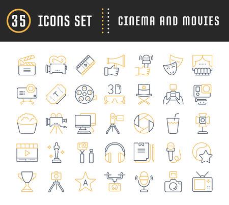 フラットなデザイン映画と携帯電話の概念と web アプリの要素を持つ映画でベクター線のアイコン、マークや記号を設定します。コレクション モダ