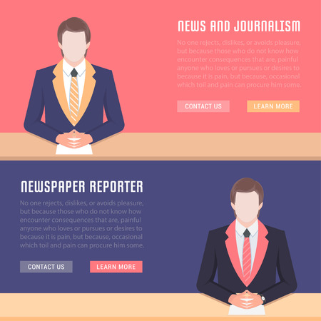 article writing: Flat line illustration of news, newspaper reporter and journalism. Concept for web banners and printed materials of. Template with buttons for website banner and landing page Illustration