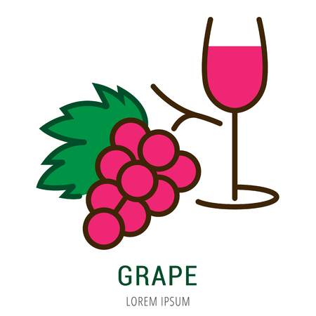 Logo or label grape. Line style logotype. Easy to use grape template. Vector abstract sign or emblem. Stock Vector - 76434582