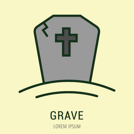logo vector: Logo or label grave. Line style logotype. Easy to use grave template. Vector abstract sign or emblem. Illustration