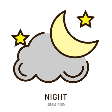 logo vector: Logo or label night. Line style logotype. Easy to use night template. Vector abstract sign or emblem.
