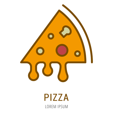 Logo or label pizza. Line style logotype. Easy to use pizza template. Vector abstract sign or emblem.