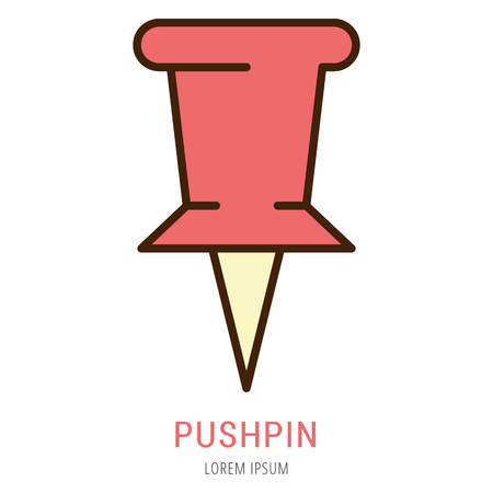 Logo or label pushpin. Line style logotype. Easy to use pushpin template. Vector abstract sign or emblem.