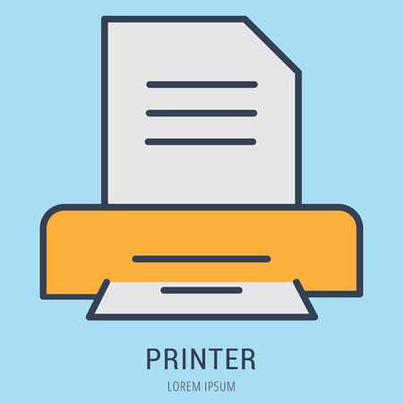 logo vector: Logo or label printer. Line style logotype. Easy to use printer template. Vector abstract sign or emblem.