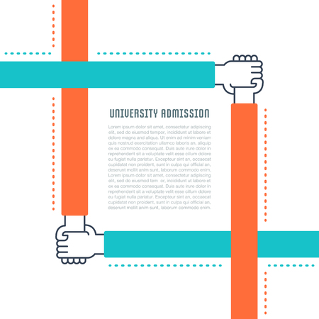 Flat line illustration of university admission. Concept for web banners and printed materials.