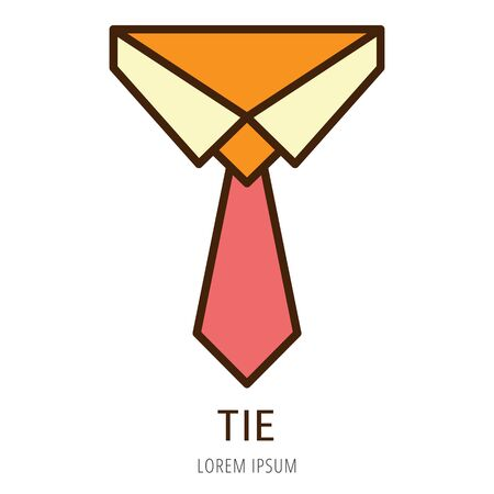 Logo or label tie. Line style logotype. Easy to use tie template. Vector abstract sign or emblem.