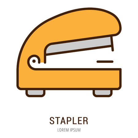Logo or label stapler. Line style logotype. Easy to use stapler template. Vector abstract sign or emblem. Illustration