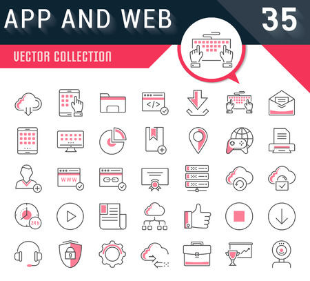 Set vector line icons in flat design smm, cms, seo and ui, ux design with elements for mobile concepts and web apps. Collection modern infographic logo and pictogram. Logo