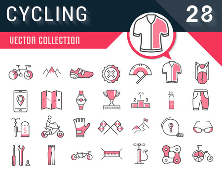 racing sign: Set vector line icons in flat design cycling, bike elements and parts, bicycle sport with elements for mobile concepts and web apps. Collection modern infographic logo and pictogram. Illustration