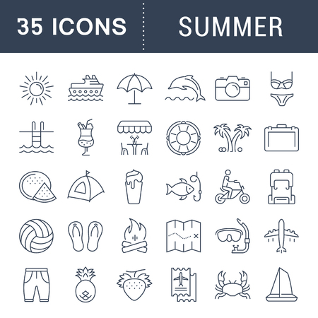 sanatorium: Set vector line icons, sign and symbols in flat design summer with elements for mobile concepts and web apps. Collection modern infographic logo and pictogram.