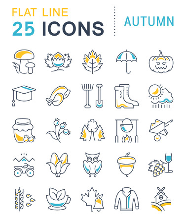 Set vector line icons, sign and symbols in flat design autumn with elements for mobile concepts and web apps. Collection modern infographic logo and pictogram. Illustration