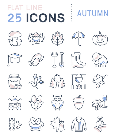 winter solstice: Set vector line icons, sign and symbols in flat design autumn with elements for mobile concepts and web apps. Collection modern infographic logo and pictogram. Illustration