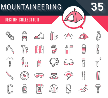 Set vector line icons in flat design mountaineering and hiking with elements for mobile concepts and web apps. Collection modern infographic logo and pictogram. Logo
