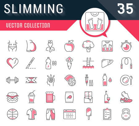 Stel vector lijn iconen in plat design Afslanken, gezonde voeding en dieet met elementen voor mobiele concepten en web apps. Verzameling moderne infographic logo en pictogram.