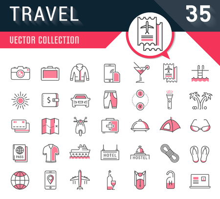 Set vector line icons in flat design travel, hotel service, resort vacation, tour planning, recreational rest, holiday trips for mobile concepts and web apps. Collection modern infographic logos.