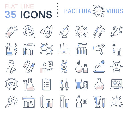 pandemic: Set vector line icons, sign and symbols in flat design bacteria and virus with elements for mobile concepts and web apps. Collection modern infographic logo and pictogram.