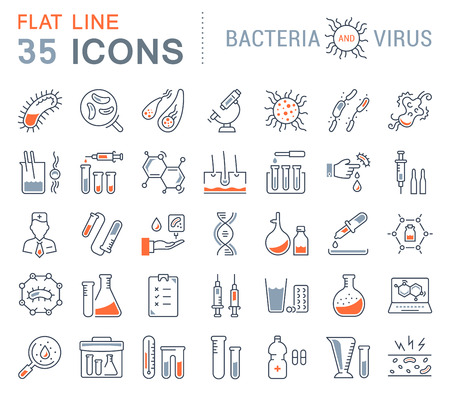 Set vector line icons, sign and symbols in flat design bacteria and virus with elements for mobile concepts and web apps. Collection modern infographic logo and pictogram.