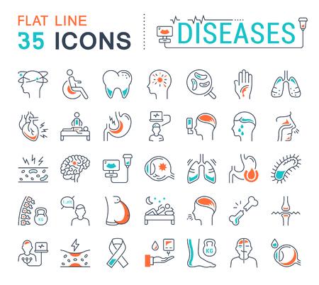 Setzen Sie Vektor-Zeilen-Symbole, Zeichen und Symbole in flachen Design-Erkrankungen mit Elementen für mobile Konzepte und Web-Anwendungen. Sammlung modernes infografisches Logo und Piktogramm.