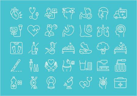 necrosis: Set vector line icons, sign and symbols in flat design heart attack with elements for mobile concepts and web apps. Collection modern infographic logo and pictogram.