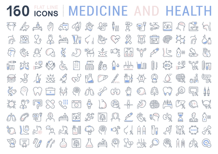 Set vector line icons, sign and symbols in flat design medicine and health with elements for mobile concepts and web apps. Collection modern infographic logo and pictogram. Vettoriali