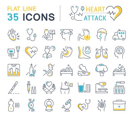 Establecer iconos de línea de vector, signo y símbolos en el corazón de ataque de diseño plano con elementos para conceptos móviles y aplicaciones web. Colección logo infográfico moderno y pictograma.