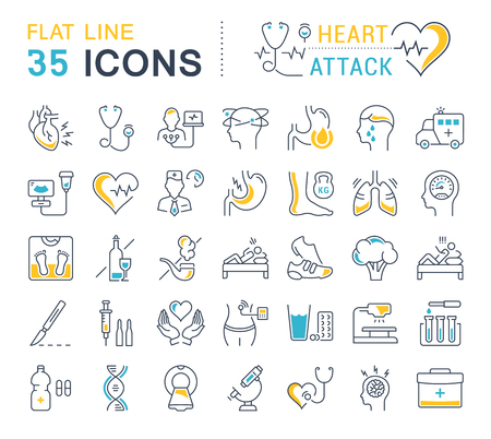 Set vector line icons, sign and symbols in flat design heart attack with elements for mobile concepts and web apps. Collection modern infographic logo and pictogram.