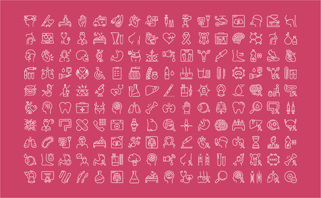 endocrinology: Set vector line icons, sign and symbols in flat design medicine and health with elements for mobile concepts and web apps. Collection modern infographic logo and pictogram. Illustration