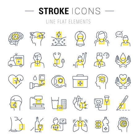 Set vector line icons, sign and symbols in flat design stroke with elements for mobile concepts and web apps. Collection modern infographic logo and pictogram.