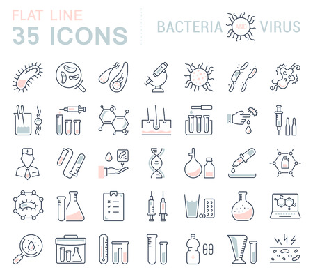 virus bacteria: Set vector line icons, sign and symbols in flat design bacteria and virus with elements for mobile concepts and web apps. Collection modern infographic logo and pictogram.