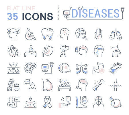 atrophy: Set vector line icons, sign and symbols in flat design of diseases and ill with elements for mobile concepts and web apps. Collection modern infographic logo and pictogram.