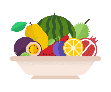 Various fruits in plate for healthy life. Combination of flat design and texture. Illustration
