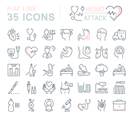 Set vector line icons, sign and symbols in flat design of heart attack with elements for mobile concepts and web apps. Collection modern infographic logo and pictogram.