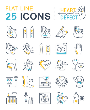 Set vector line icons, sign and symbols in flat design heart defect with elements for mobile concepts and web apps. Collection modern infographic logo and pictogram. Logo