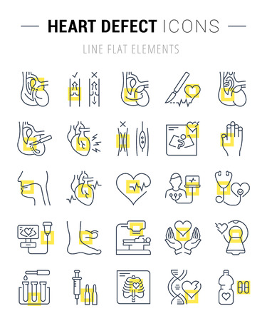 Set vector line icons, sign and symbols in flat design heart defect with elements for mobile concepts and web apps. Collection modern infographic logo and pictogram.