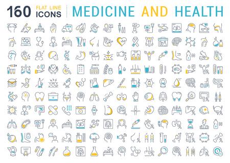 Définissez les icônes, les signes et les symboles de la ligne vectorielle dans la médecine et la santé de conception plate avec des éléments pour les concepts mobiles et les applications Web. Logo infographique moderne et pictogramme.