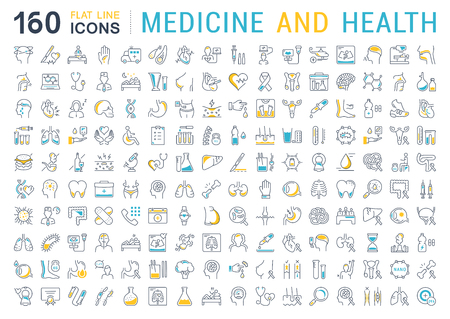Set vector line icons, sign and symbols in flat design medicine and health with elements for mobile concepts and web apps. Collection modern infographic logo and pictogram. Stock Illustratie