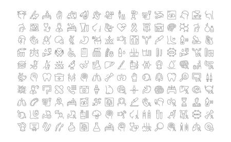 Impostare le icone della linea vettoriale, segno e simboli nella medicina e nella salute del disegno piatto con elementi per concetti mobili e applicazioni web. Collezione logo e pittogramma infografici moderni.