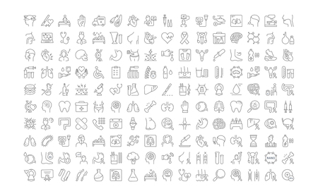 Set vector line icons, sign and symbols in flat design medicine and health with elements for mobile concepts and web apps. Collection modern infographic logo and pictogram. 向量圖像