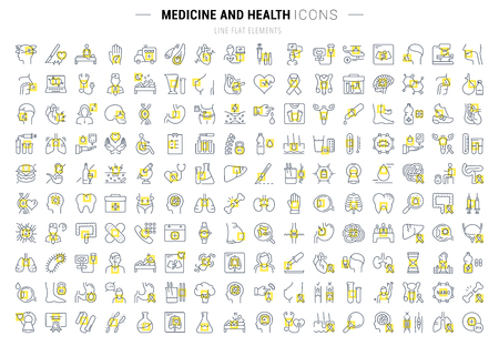 Set vector line icons, sign and symbols in flat design medicine and health with elements for mobile concepts and web apps. Collection modern infographic logo and pictogram. Ilustração
