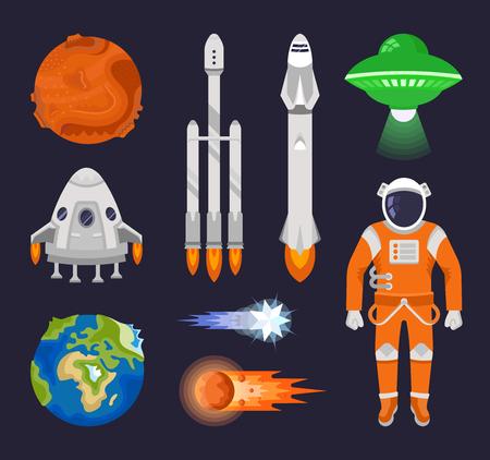 Verzameling van vector elementen van de ruimte. Collecties, planeten, ruimteschepen en andere objecten. Stock Illustratie