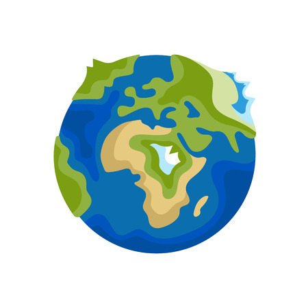 Earth icon on flat design. Vector illustration for web banner, web and mobile, infographics. Vectores