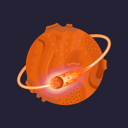Vector illustration planet from solar system. Mars icon on flat design.