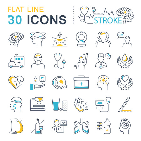 Set vector line icons, sign and symbols in flat design of stroke disease with elements for mobile concepts and web apps. Collection modern infographic logo and pictogram.