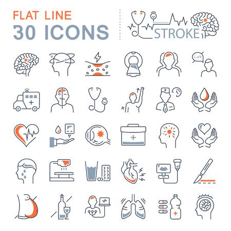 Définir des icônes de ligne de vecteur, signe et symboles dans un design plat de maladie de l'AVC avec des éléments pour les concepts mobiles et les applications Web. Logo de la collection moderne infographie et pictogramme.