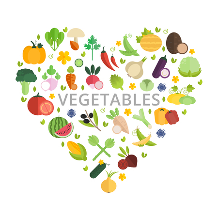 Vector banner in shape of heart with inscription in the middle. Various vegetables isolated on white background.